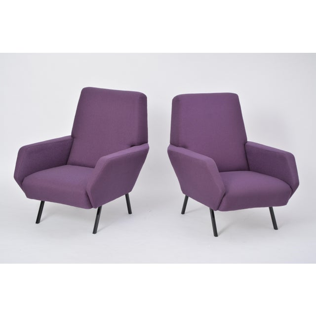 Mid-Century Modern Pair of Reupholstered Italian Vintage Armchairs in Metal and Purple Fabric,1950s For Sale - Image 3 of 9