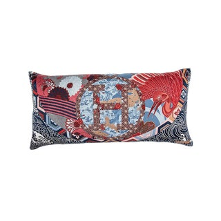"""Ex Libris en Kimonos"" Hermès Silk Scarf Pillow For Sale"