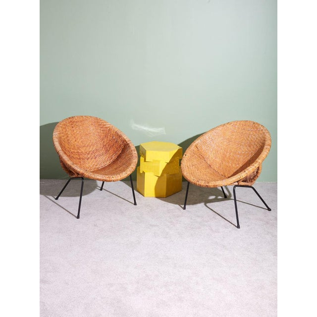 Boho Chic 1960s Wicker and Iron Scoop Bucket Chair For Sale - Image 3 of 7