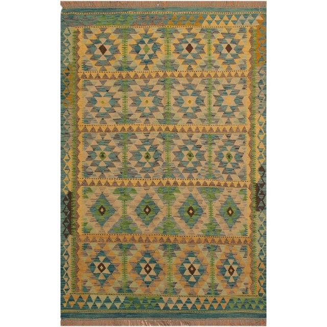 Darleen Green/Teal Hand-Woven Kilim Wool Rug -5'2 X 6'7 For Sale