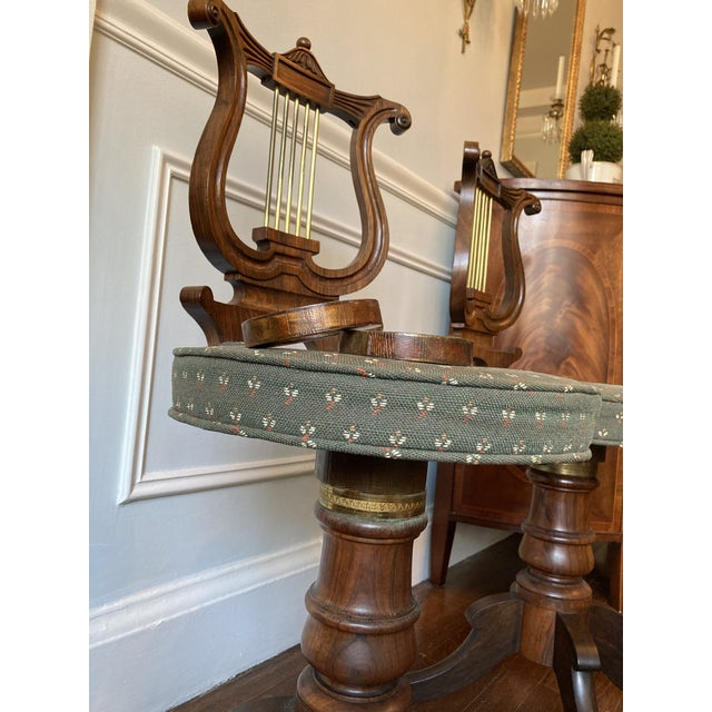 Early 19th Century Antique Regency Lyre Back Rosewood Scottish Piano Chairs, Adjustable Height - a Pair For Sale - Image 5 of 13