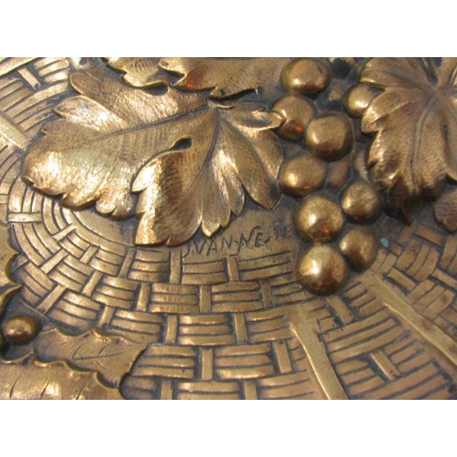 Antique Jan Van Neste Art Nouveau Bronze Decorative Tray With Grape Leaves For Sale - Image 10 of 13
