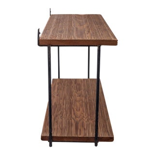 Muriel Coleman Iron and Brushed Wood Shelve Unit For Sale