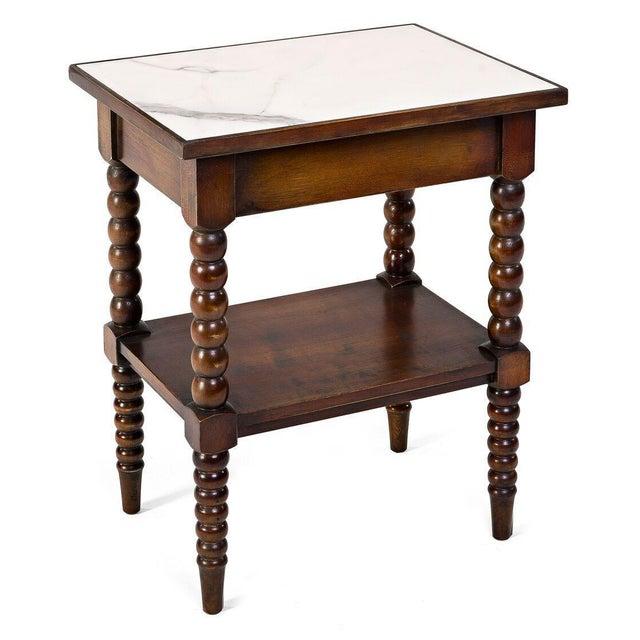Sarreid LTD Calacatta Marble Top Side Table - Image 2 of 2