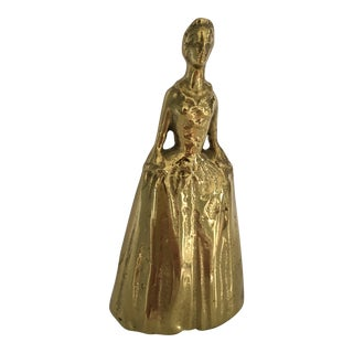 Virginia Metalcrafters Mid-Century Cast Brass Colonial Williamsburg Lady Bell For Sale