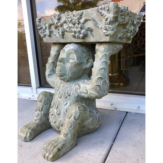 Green Large Bronze Finish Monkey Planter For Sale - Image 8 of 12