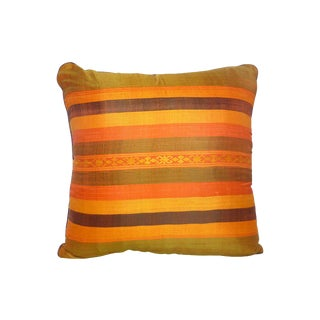 Thai Silk Stripe Pillow For Sale