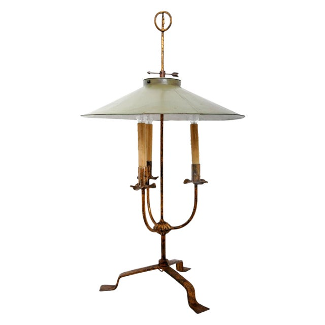 Vintage Gilt Metal Italian Giacometti Style Lamp For Sale