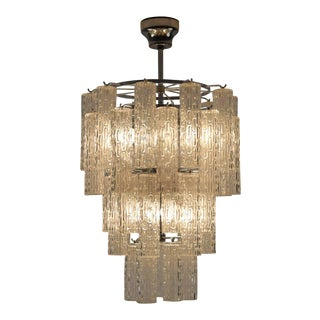ItalianTextured Glass Chandelier from the 1960s