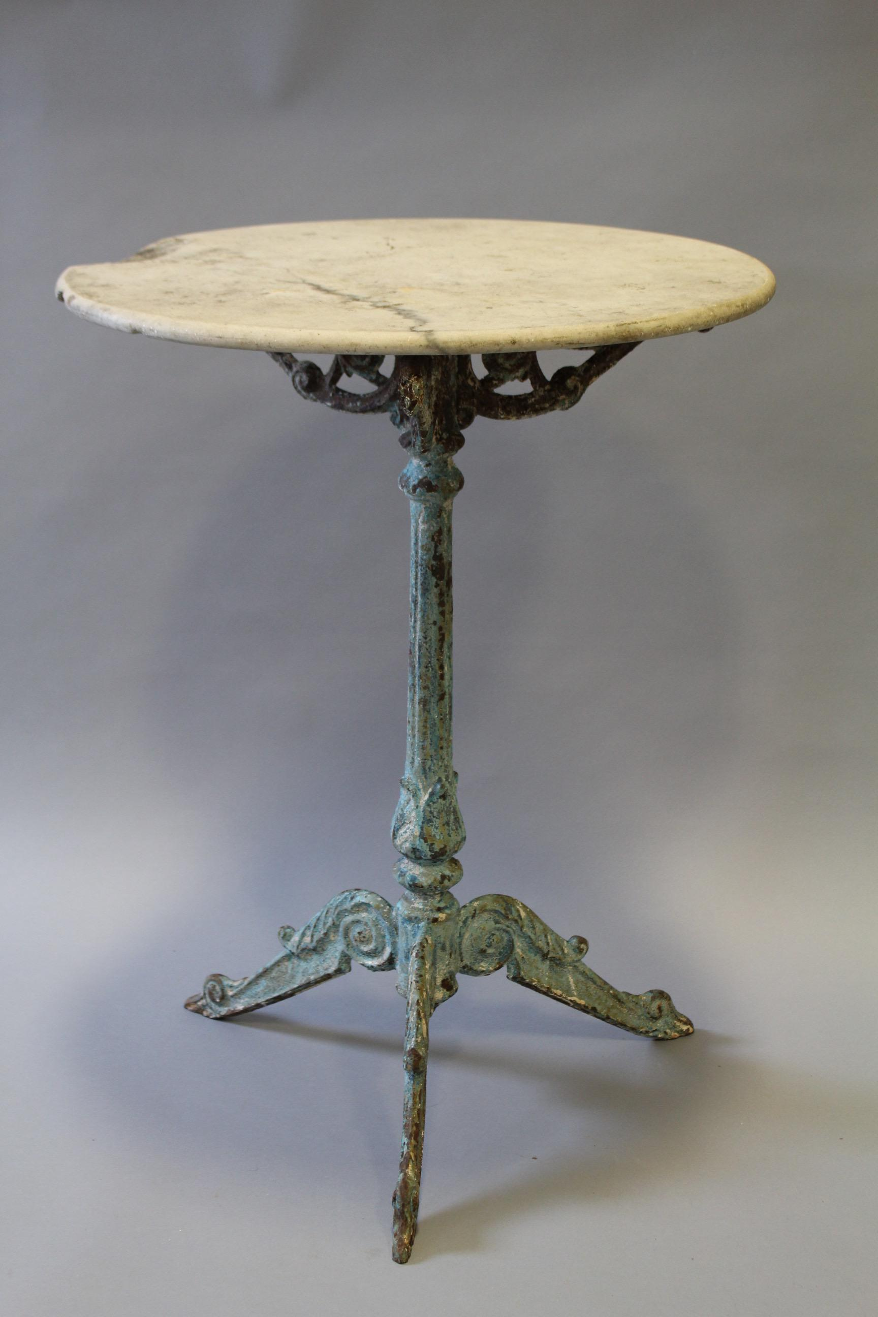Round Marble Cast Iron French Bistro Table   Image 2 Of 7