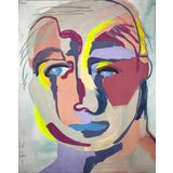 """Image of Contemporary Abstract Portrait Painting """"Learned to Love"""" - Framed For Sale"""
