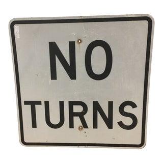Vintage No Turns Square Sign For Sale