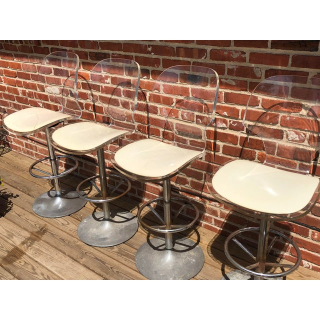 Rare set of 4 Lucite swivel barstools 100% original by Hill Manufacturing Corp dated 4/77, with clamshell shape seat,...