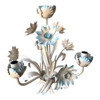 Vintage Italian Tole Chandelier - Light Blue Flowers
