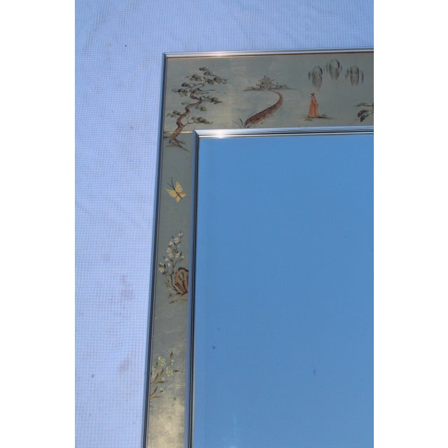 Metal La Barge Mid-Century Modern Hand Painted Chinoiserie Mirror For Sale - Image 7 of 11