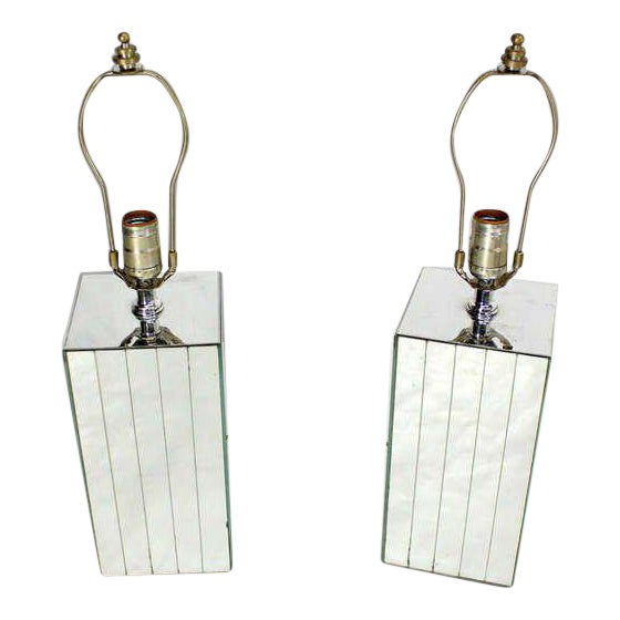 Vintage Mid-Century Mirrored Table Lamps - A Pair For Sale