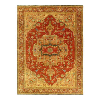 Rust Color Fine Hand Knotted Serapi Design 9' X 12'3'' For Sale
