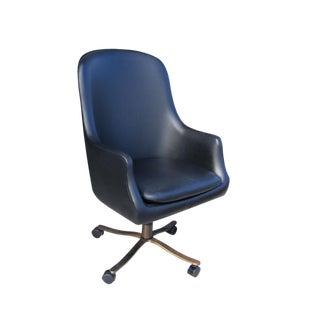 1 Vintage Midcentury Zographos Alpha Chair Black Leather Bronze Base For Sale