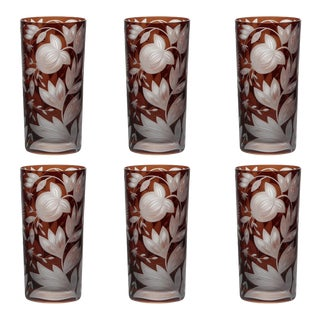 Verdure Highball Glasses Mahogany - Set of 6 For Sale