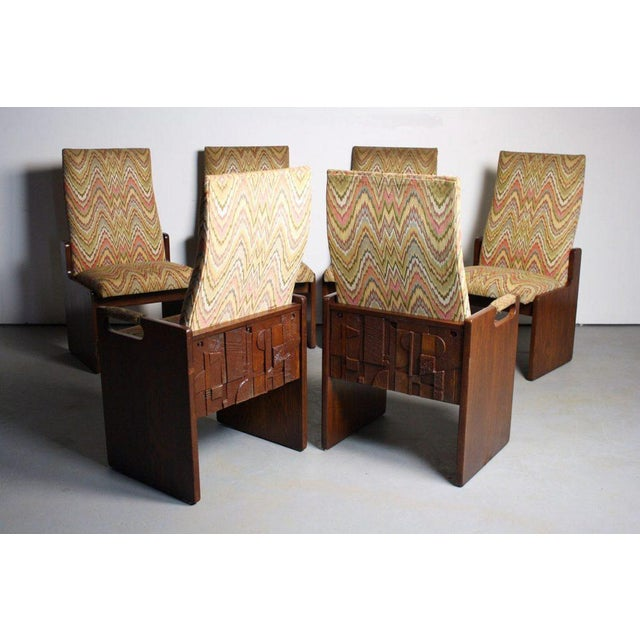 Lane Brutalist Walnut Dining Chairs - Set of 6 - Image 2 of 6