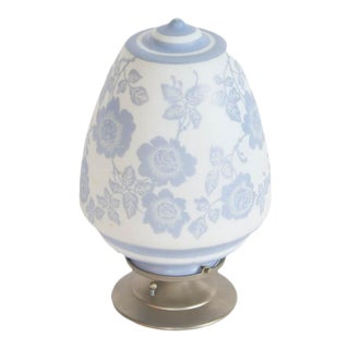 Blue Floral Glass Pendant on a Brushed Nickel Fixture For Sale