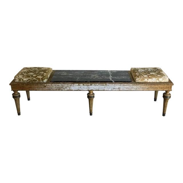 Hollywood Regency Wood Marble Upholstered Bench For Sale