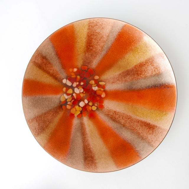 Metal Design 'Bovano of Cheshire' Mid-Century Modern Enamel Over Copper Sunburst Design Tray and Box Set For Sale - Image 7 of 8
