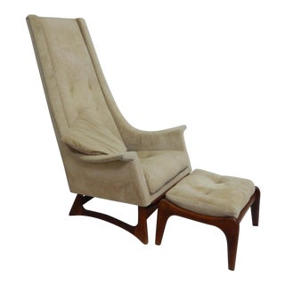 1960s Vintage Adrian Pearsall Sculptural High Back Lounge Chair and Ottoman For Sale