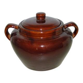 1960s Vintage Brown Glaze Bean Pot Crock With Lid For Sale