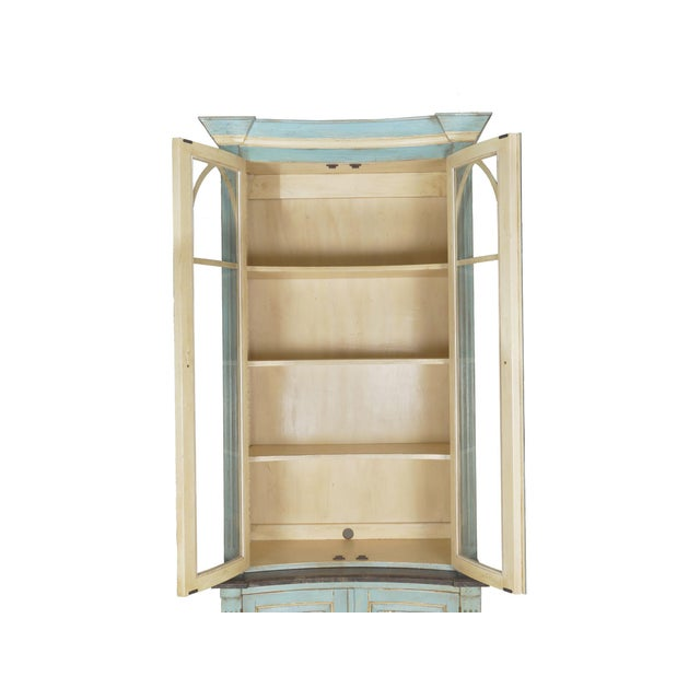 Swedish Gustavian Style Blue Painted Bookshelf Cabinet Bookcase by Lillian August For Sale - Image 9 of 13