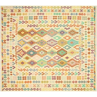 "Nalbandian - Contemporary Afghan Maimana Kilim - 8'6"" X 9'5"" For Sale"