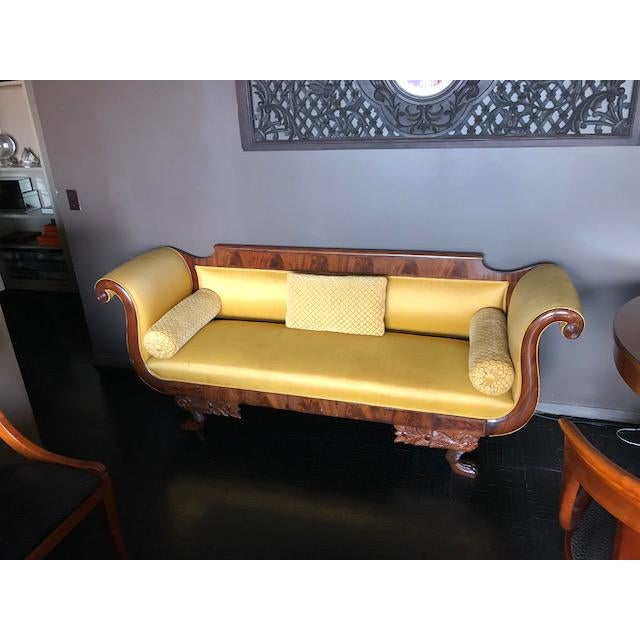 Yellow Silk Empire Settee For Sale - Image 12 of 12