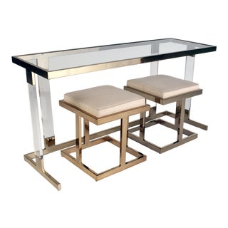 1970s Vintage Charles Hollis Jones-Style Brass and Lucite Console Table & Nesting Benches- 3 Pieces For Sale