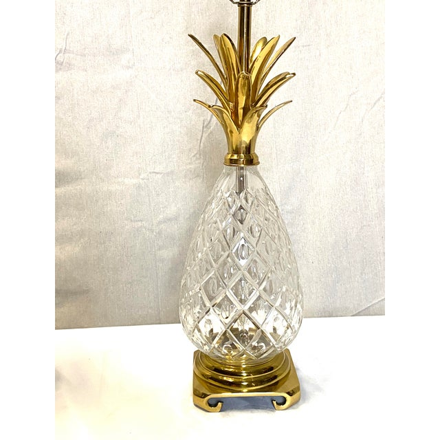 Hollywood Regency Fabulous Vintage Wildwood Crystal Brass Pineapple Table Lamps - a Pair For Sale - Image 3 of 9