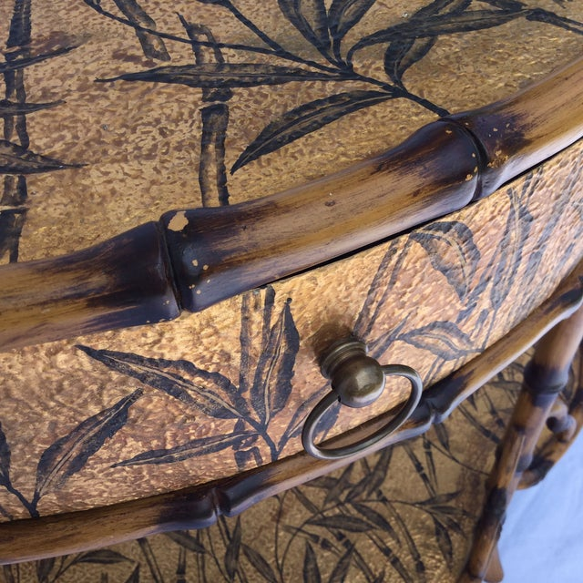 Gold and Faux Burnt Bamboo Console Table For Sale In Richmond - Image 6 of 10
