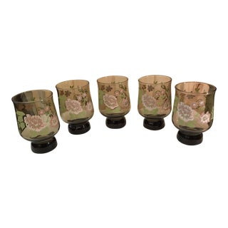 Mid-Century Modern Smoked Glasses With Embossed Design - Set of 5 For Sale