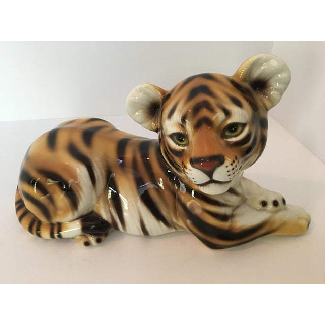Figurative Large Scale Mid Century Italian Hand Painted Majolica Resting Tiger For Sale - Image 3 of 13