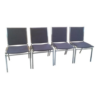 1970s Modern Knoll Blue Stacking Chairs - Set of 4 For Sale