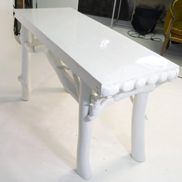 American 1990s White Lacquered Root Console For Sale - Image 3 of 12