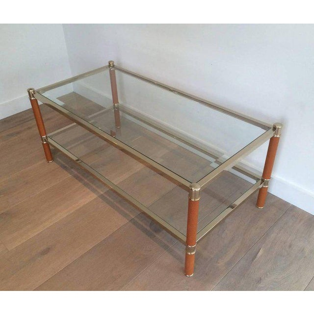 Gilt Brass and Leather Coffee Table by Lancel For Sale - Image 10 of 11