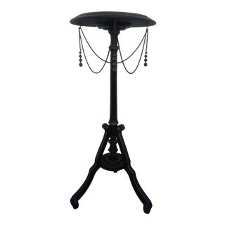 Vintage Black Ebonized Plant Stand Side Table With Decorative Chains For Sale