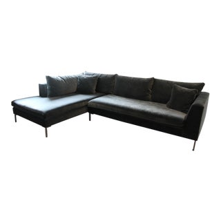 Abc Carpet & Home Cobble Hill Carroll Gardens Velvet Sectional For Sale