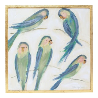 Elaine Gleason Carolina Keats Green Parakeets Painting With Gold Frame For Sale