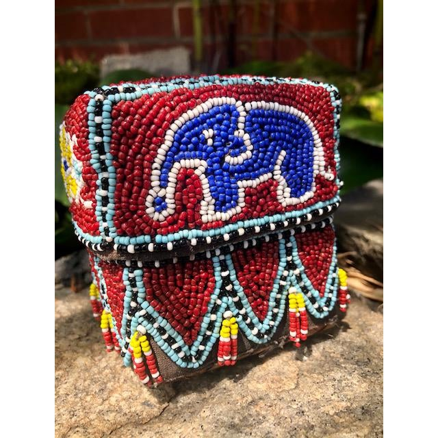 Vintage Red Elephant Indonesian Hand Beaded Basket With Lid For Sale - Image 4 of 11