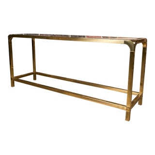 Mid-Century Modern Mastercraft Brass and Glass Sofa Table For Sale