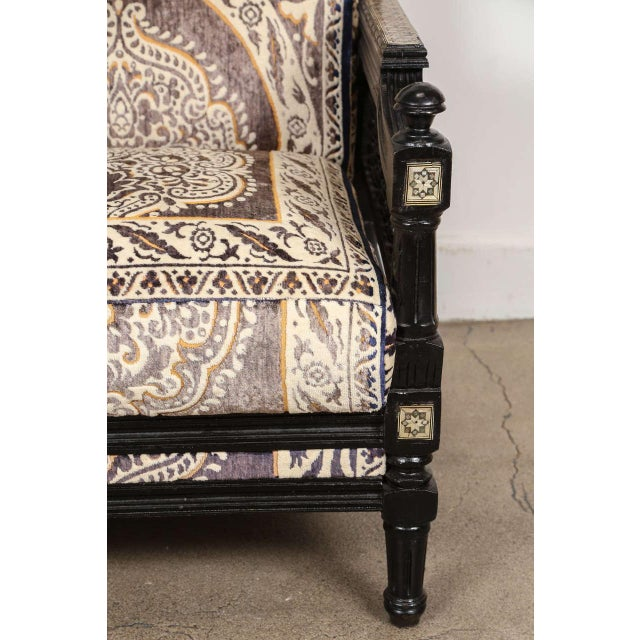 Fabric Antique Syrian Moorish Style Black Armchairs - A Pair For Sale - Image 7 of 9
