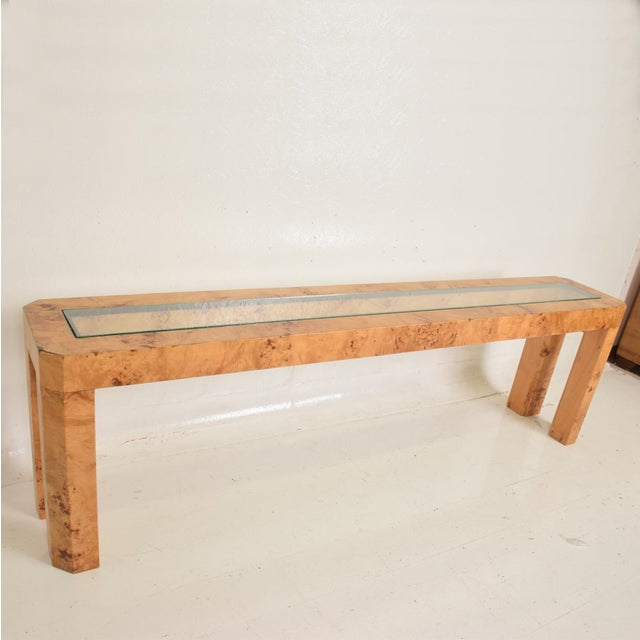 Ash XL Mid Century Modern French Custom Ash Burlwood Console Table For Sale - Image 7 of 9