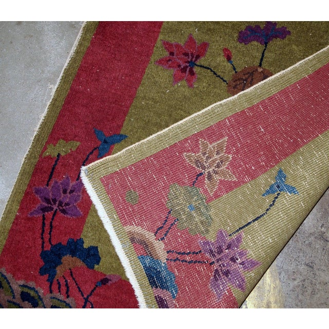 Textile 1920s, Handmade Antique Art Deco Chinese Rug 3.1' X 4.10' For Sale - Image 7 of 11