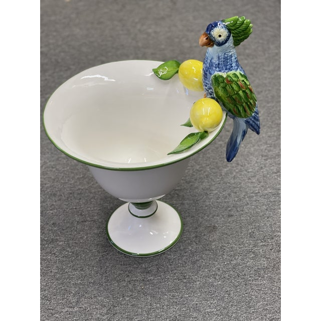 Handmade in Italy, this vase is a piece of art. With lemons and parrots is a wonderful table top. ceramic. hand painted.