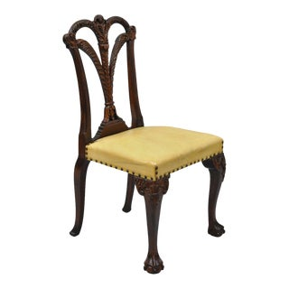 Plume Carved Mahogany Wood Hollywood Regency Vanity Side Chair Grosfeld House